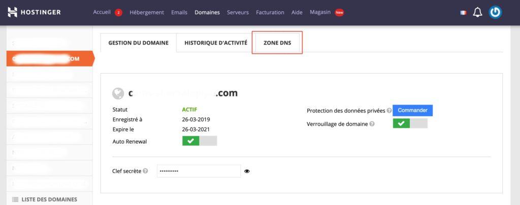 validation du nom de domaine pour votre site